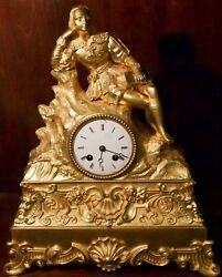 Antique French Gilt Bronze Mantel Clock With A Seated Nobleman And Book