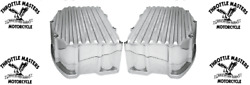 Panhead Style Finned Chrome Rocker Box Valve Covers Fit Harley '99-2017 Twin Cam