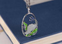 F05 Cloisonne Pendant Fish from White Jade Surrounded Blossom Branch Silver 925