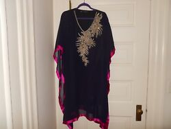 NWOT designer  Purple dress or tunic with gold beading at the front Size M