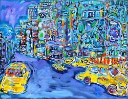 Nyc Taxis Modern Art Oil Painting Jean Mirre Cotandeacute Artprice New York City