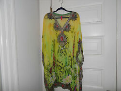 NWT designer  Floral dress or tunic with beading at the neck and front