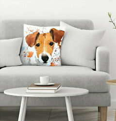 East Urban Home Allison Gray Jack Russell Terrier Puppy Throw Pillow
