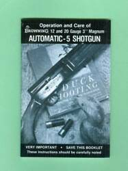 Browning Model A5 12 And 20 Magnum 1970and039s Owners Instruc Manual Reproduction