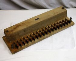 Vintage 1921 Cenco Meter Testing Rheostat, 18 Knife Switches, Wood Brass Copper