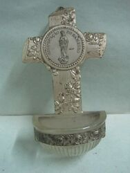Antique Holy Water Font In Metal And Glass Religious Souvenir Sameiro Portugal
