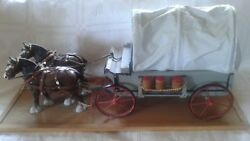 Vintage Clydesdale Horse Drawn Wooden Covered Wagon Mounted On Wood Platform