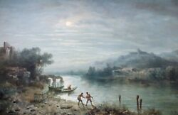Antique Paul Pascal French 1832 -1903 Orientalist Water Color. Fishing Scene
