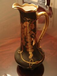 Vintage Delinieres And Co. Limoges Grape Leaf Pitcher Green W/ Gold See Details