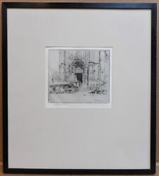Market By A French Cathedral. Etching By Listed Artist Charles Watson Re, 1905