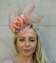 Nude Floral Sinamay Rose Flower Feather Hat Hair Fascinator Races Cocktail 7187