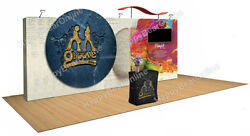 Trade Show Quick Pop-up 20ft X 10ft Fabric Exhibition Booth 10ft Tall Shelves Tv