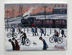 Northern Artist James Downie Original Oil Painting And039pit Menand039 Miners Railway