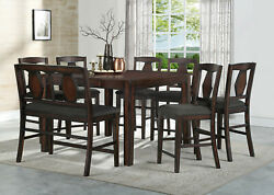 Brown Cushion Plush Chairs Bench Counterheight Dining Table Antique 8pc Set Wood
