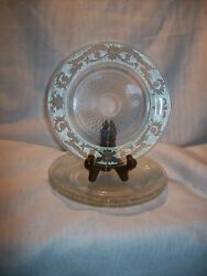 3 Vintage Clear Pressed Glass Cake Plates