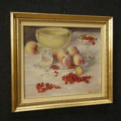 Painting Italian Painting Signed Natura Morta Oil Panel Frame Antique Style