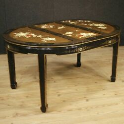 Table French Furniture Wood Lacquered Painting Golden Chinoiserie Antique Style