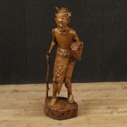 Sculpture Statue Indiana Object Wooden Old Character Antique Style 20th Century