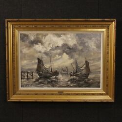 Painting Seascape Landscape Oil On Canvas Boats Signed Antique Style Frame 900