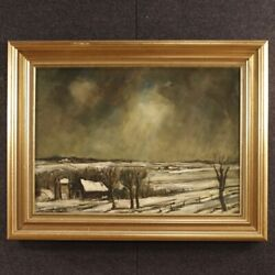 Painting Framework Signed Oil On Canvas Dutch Winter Landscape Antique Style