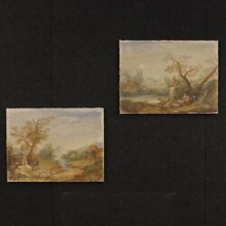 Pair Of Paintings Italian Frameworks Tempera On Canvas Landscapes Antique Style