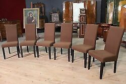 Group Of Six Chairs Wooden Furniture In Fabric Reproduction Modern Armchairs