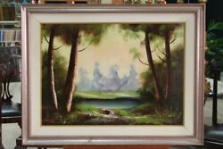 Painting Oil On Canvas Paesaggio Signed Italian Riva Antique Style 900 Xx