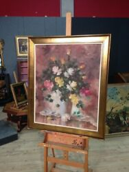 Painting Still Life Flowers Oil On Canvas Frame Golden Signed 900 Antique Style