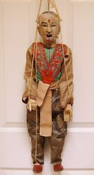 C1780 Antique Lg 37 Marionette Thailand Siam Hand Carved Wood Silk Gold Fabric