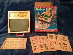 Vintage 1972 Fisher Price School Days Play Desk 176 Letters Numbers Cards •
