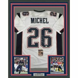 Framed Autographed/signed Sony Michel 33x42 New England White Jersey Jsa Coa