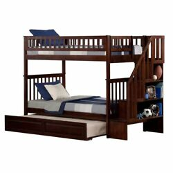 Atlantic Furniture Woodland Twin Over Twin Staircase Trundle Bunk Bed