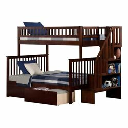 Leo And Lacey Twin Over Full Staircase Storage Bunk Bed