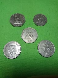 10 50 New Pence 5 Coins Lot 1968 1978 1982 1997 Elizabeth Coin Great Britain Uk