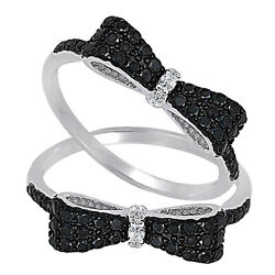 Black Onyx And Clear Cz Bow Tie Ribbon Genuine Sterling Silver Ring