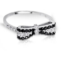 Round Black With Clear Cz Bow Stackable Sterling Silver Ring