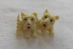 6 Beautiful Vintage Celluloid Dog Brooch Broach Two Westie Dogs Moving Heads