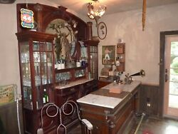 Antique Backbar Cabinet and Front bar