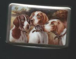 Continental Silver Card Case With Enamel Picture Of Dogs German Circa 1920
