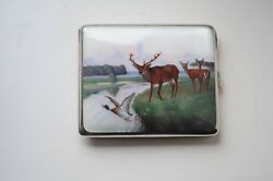 Continental Silver Case With Enamel Picture Of Stag Circa 1920