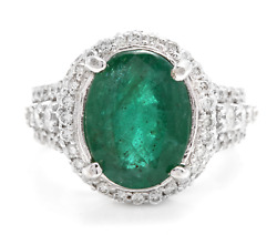 6.80ct Natural Emerald And Diamond 14k Solid White Gold Ring