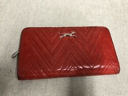 Bimba Y Lola Leather Clutch Purse Wallet  RED CHEVRON QUILTED LEATHER ZIP