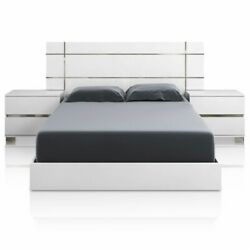 Icon Standard King Bed In White High Gloss And Chrome Foil Trim