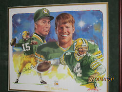 Bart Star-brett Favre Sigrature Series-packers Hall Of Fame Painting 1996 Sweet