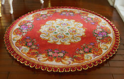 Beautiful Floral Bouquet Stunning Red Round Miniature Dollhouse 1/12 Lace Rug
