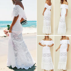 White Dress Summer Beach Sundress Ruffle Women Lace Off shoulder Maxi Evening $19.60