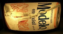 Rare Modelo Especial Double Sided Baseball Boxing Beer Can Lighted Sign