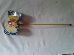 J. Chein And Co. Tin Litho Butterfly Push- Pull Toy Wooden Stick Flaps Wings