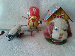 3 Japan Tin Litho Toys Airplane Missing Tail,dog In His House, And Pecking Chicken