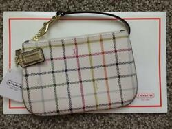 Authentic Coach Peyton Tattersall White Multicolor Plaid Wristlet Wallet